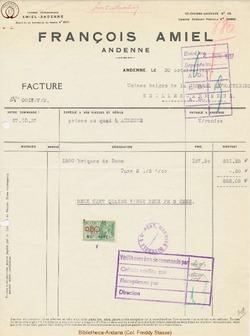 Facture Amiel 1937