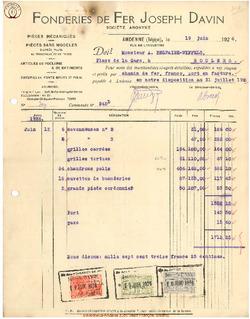 Facture Davin Joseph 1926