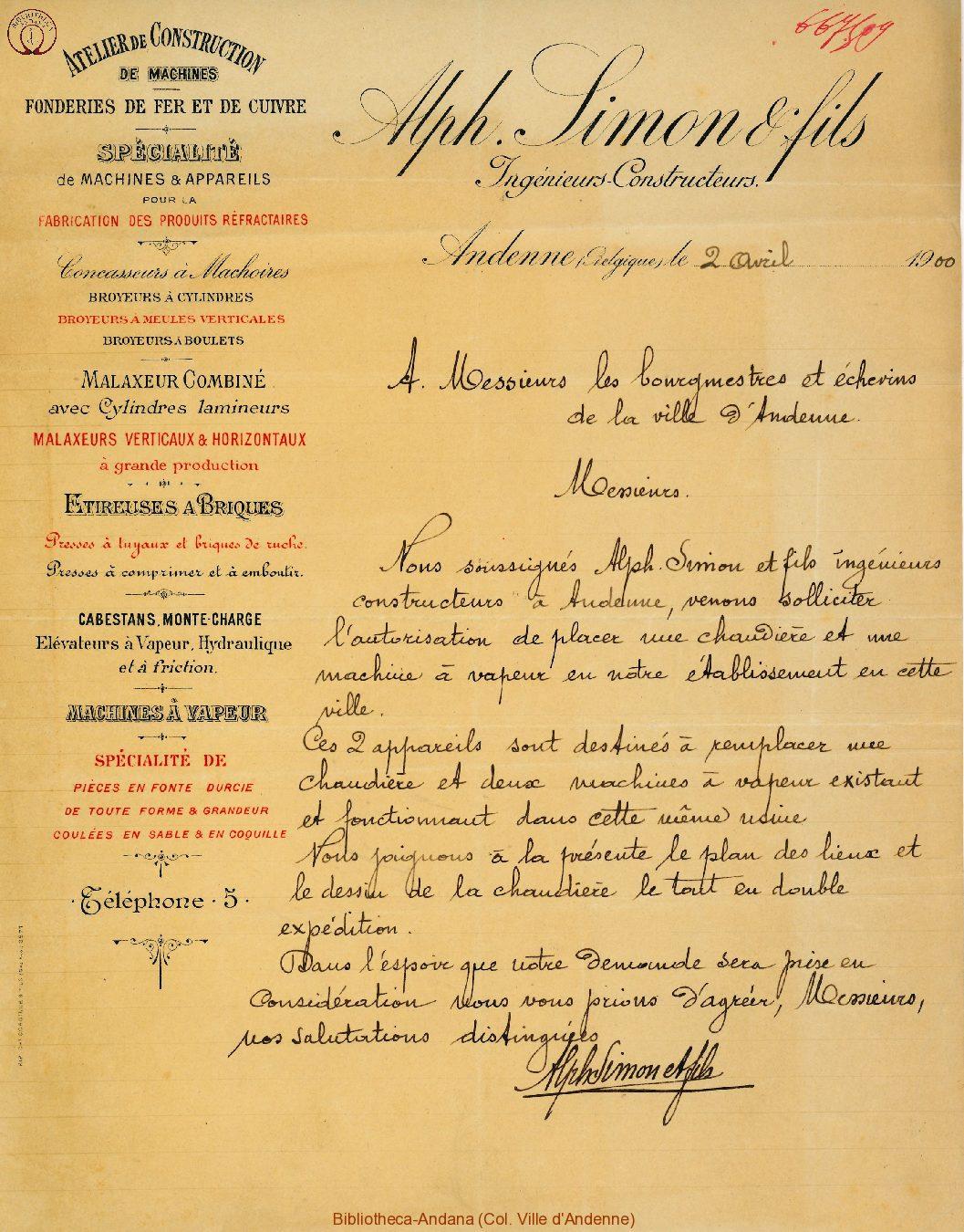 Facture Simon et Fils 1900