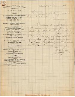 Facture Simon Frères 1886