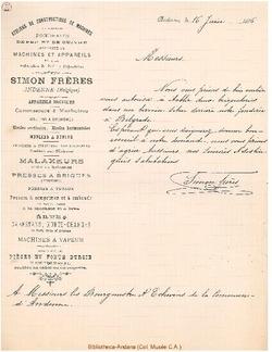 Facture Simon Frères 1896