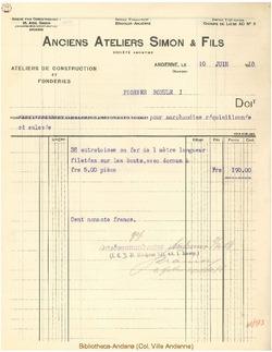 Facture Simon et Fils 1918