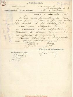 Facture Société Anonyme des Fonderies d'Andenne 1917