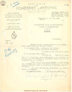 Facture Société Anonyme des Fonderies d'Andenne 1945