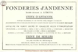 Publicité Société Anonyme des Fonderies d'Andenne