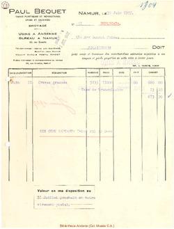 Facture Bequet 1927