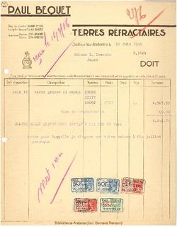 Facture Bequet 1936