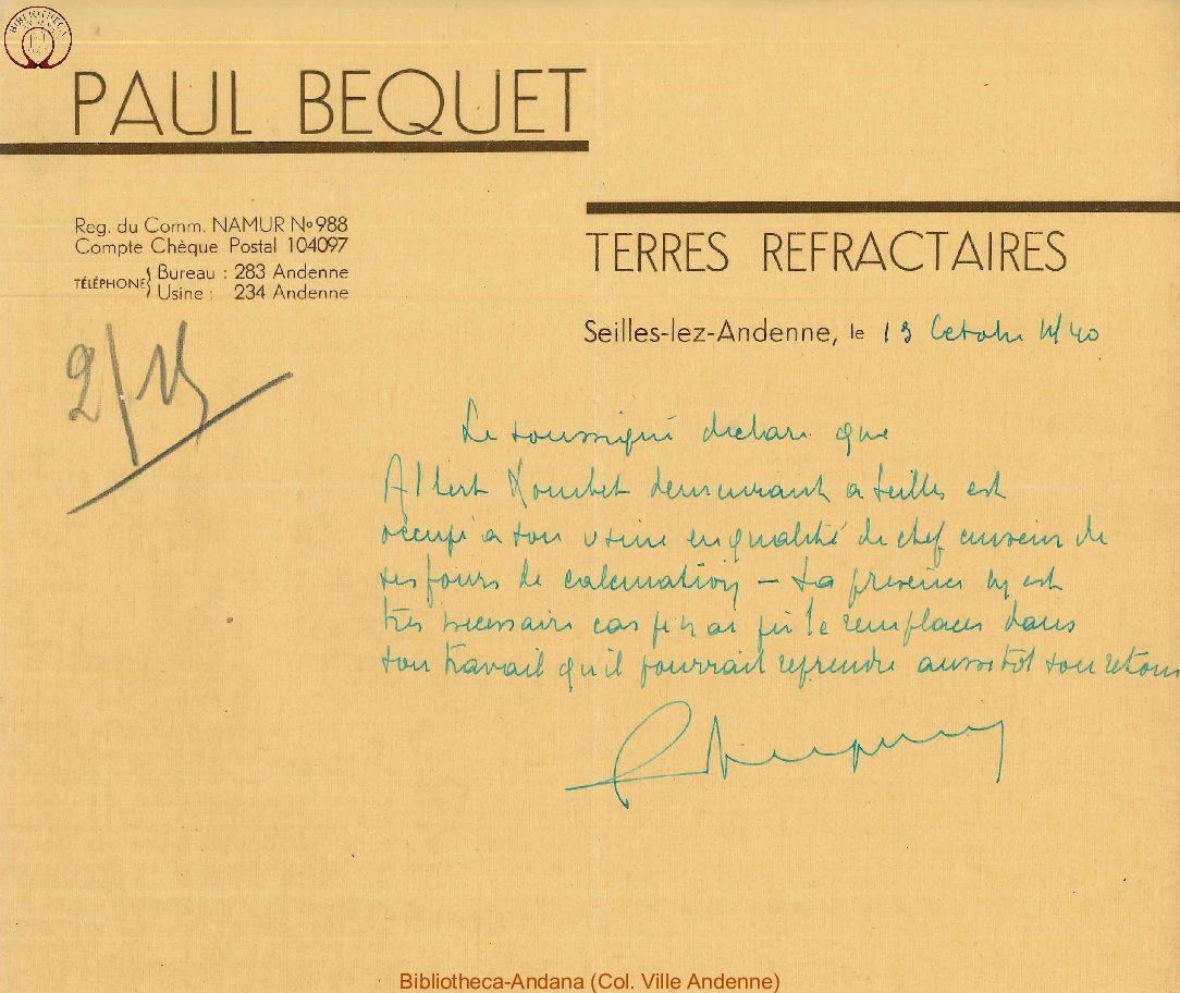 Facture Bequet 1940
