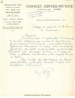 Facture Berger 1926