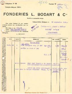Facture Bodart 1926