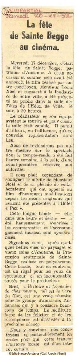1952-12-20 Le Fête de Sainte Begge au cinéma.