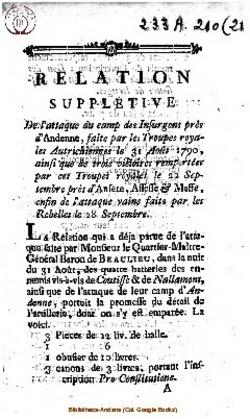 1790 - Relation supplétive de l'attaque du camp des insurgens près d'Andenne