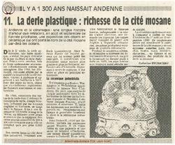 11. La derle plastique: richesse de la cité mosane.