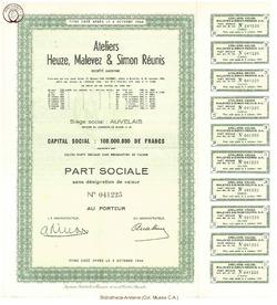 Société Anonyme H.M.S. Atelier Heuze, Malevez & Simon Réunis