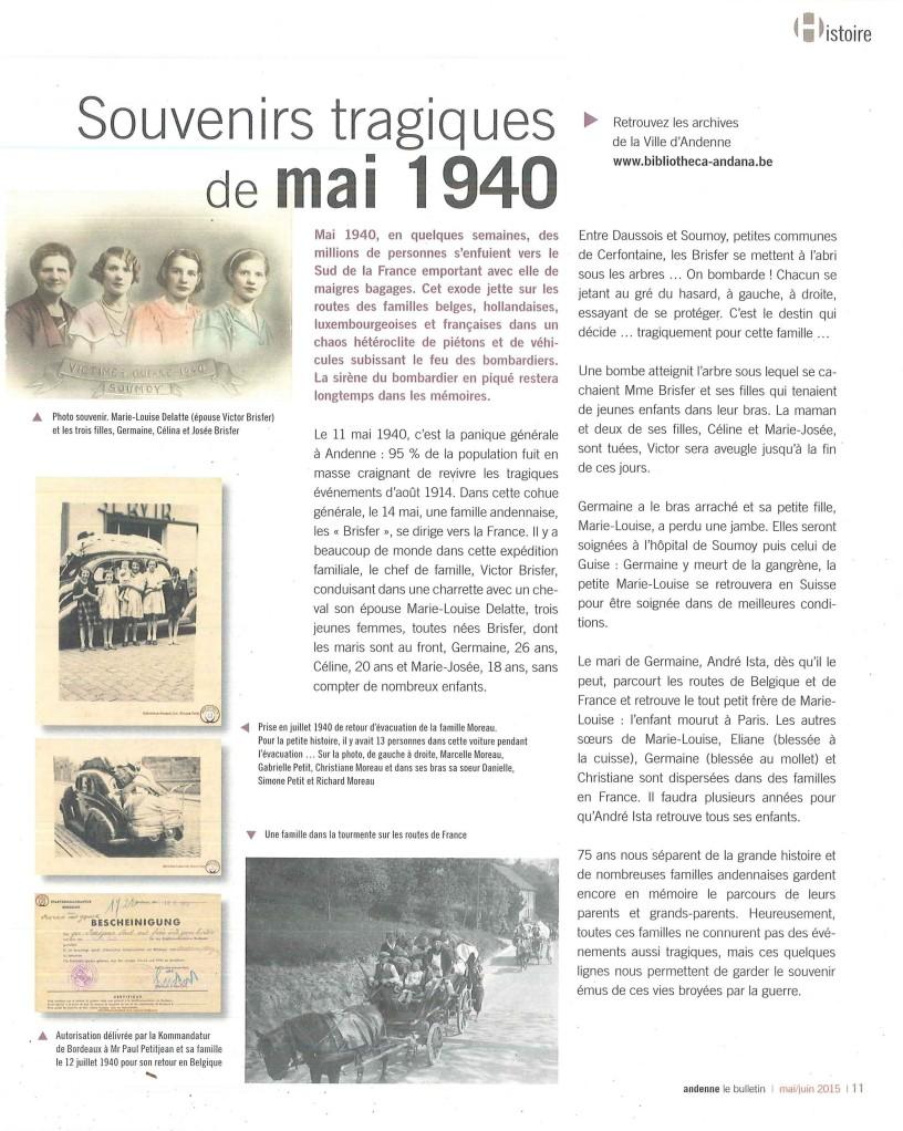 Souvenirs tragiques mai 1940