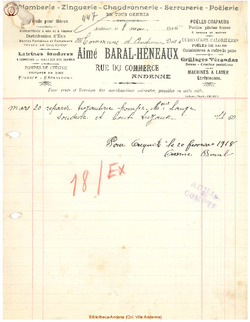 Facture Baral Heneaux 1915