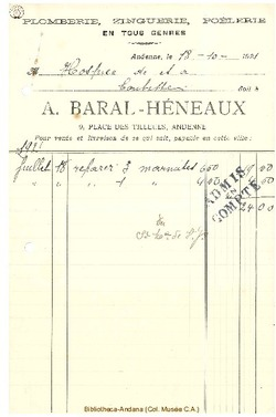 Facture Baral Heneaux 1921