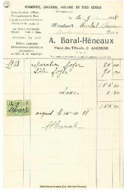 Facture Baral Heneaux 1928