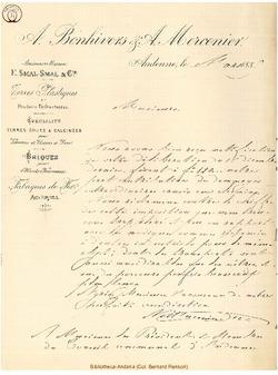Facture Bonhivers A. & Mercenier A. 1889