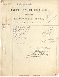 Facture Amiel Bragard 1914