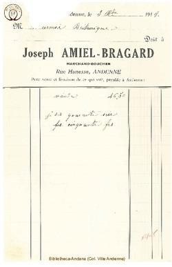 Facture Amiel Bragard 1918