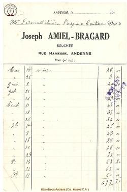 Facture Amiel Bragard 1922