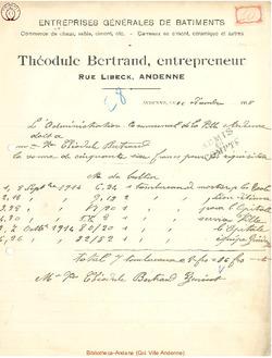 Facture Bertrand Théodule 1915