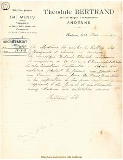 Facture Bertrand Théodule 1911