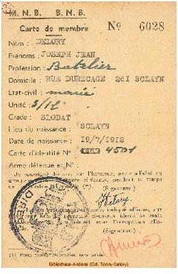 Carte de membre du Mouvement National Belge