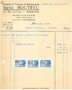 Facture Boutfeu René 1948