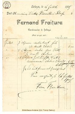 Facture Fraiture Fernand 1905