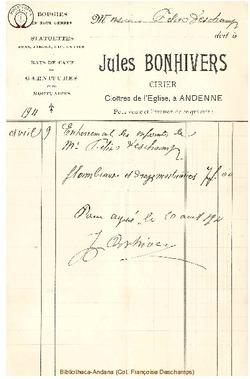 Facture Bonhivers Jules 1911