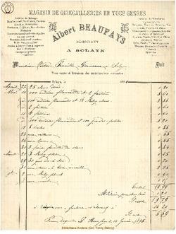 Facture Beaufays Albert 1927