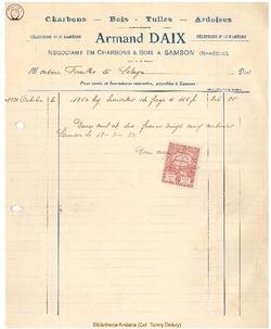 Facture Daix Armand 1921