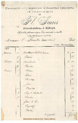 Facture Fl. Suars 1894