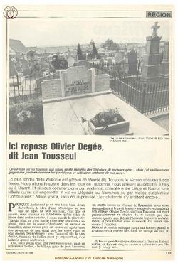 Ici repose Olivier Degée, dit Jean Tousseul