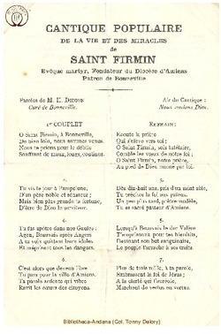 Cantique populaire de la vie et des miracles de Saint Firmin