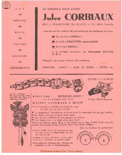 Publicité Corbiaux Jules 1952