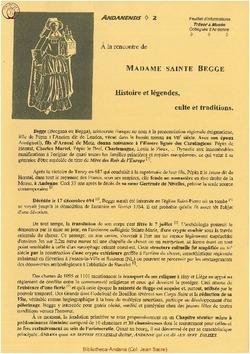 A la rencontre de Madame Sainte Begge - Histoires et Légendes, Cultes et Traditions
