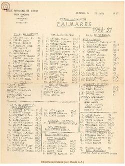 Palmarès 1956 - 1957