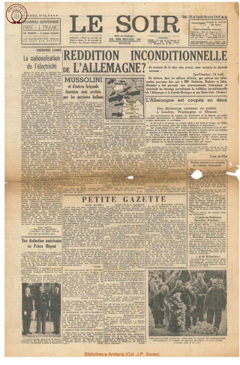 1945-04-30 Le Soir