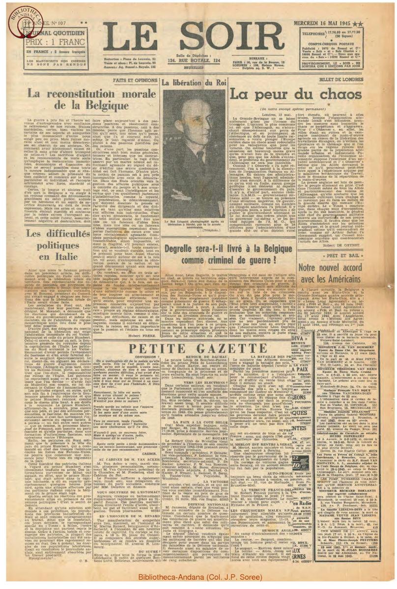 1945-05-16 Le Soir