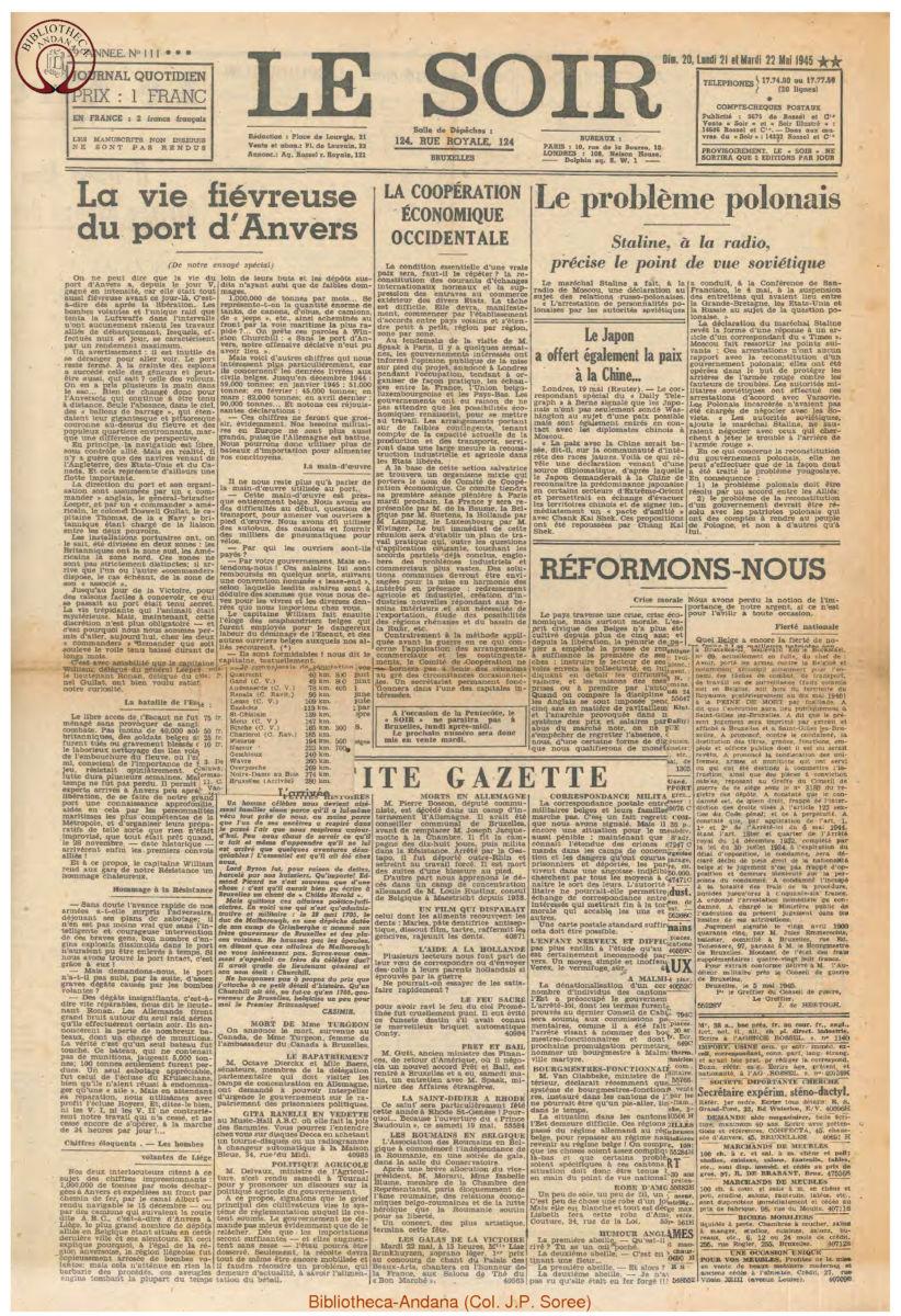 1945-05-22 Le Soir