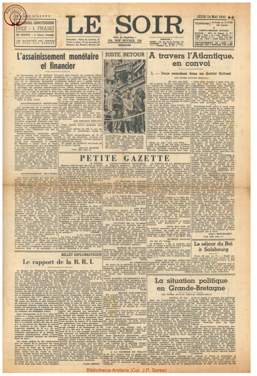 1945-05-24 Le Soir