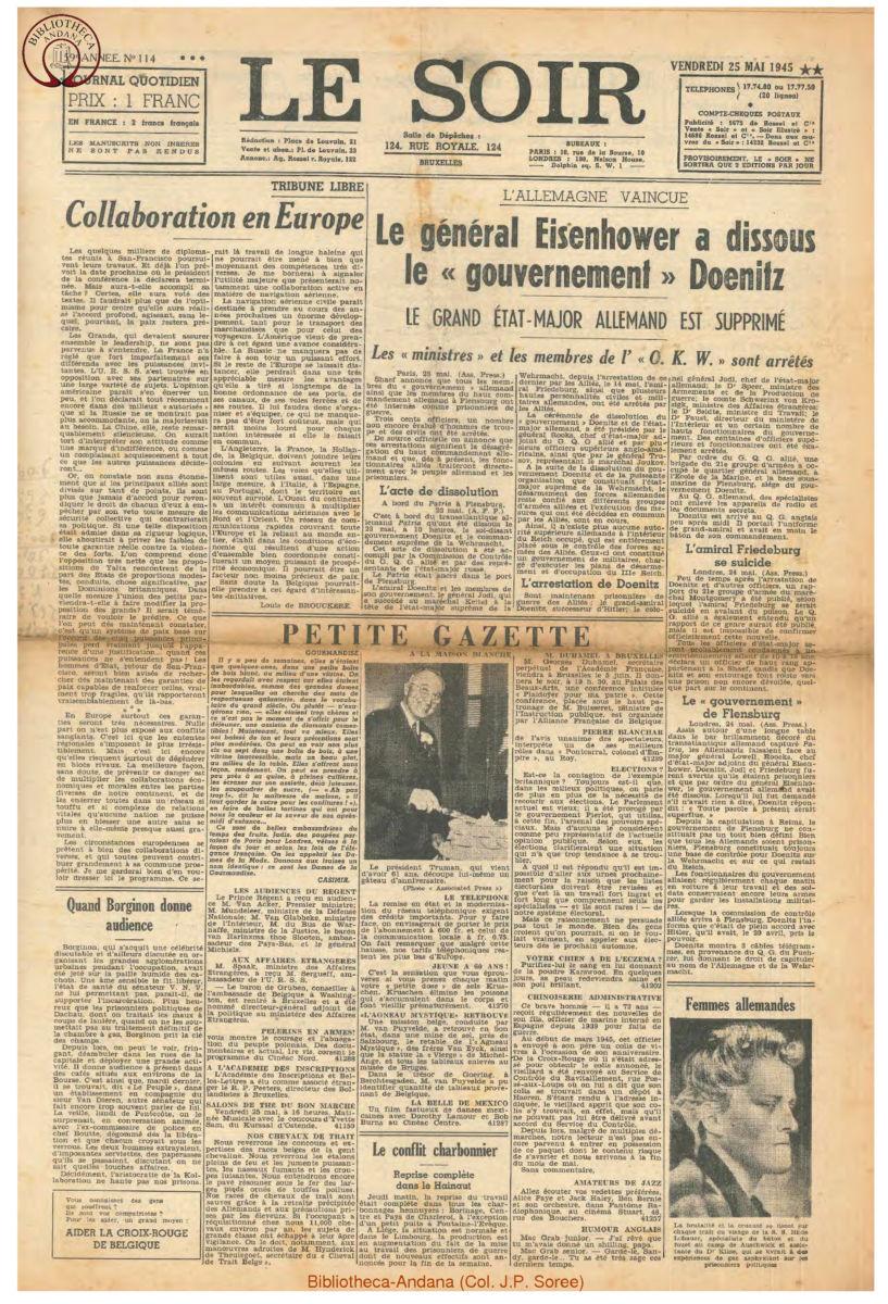 1945-05-25 Le Soir