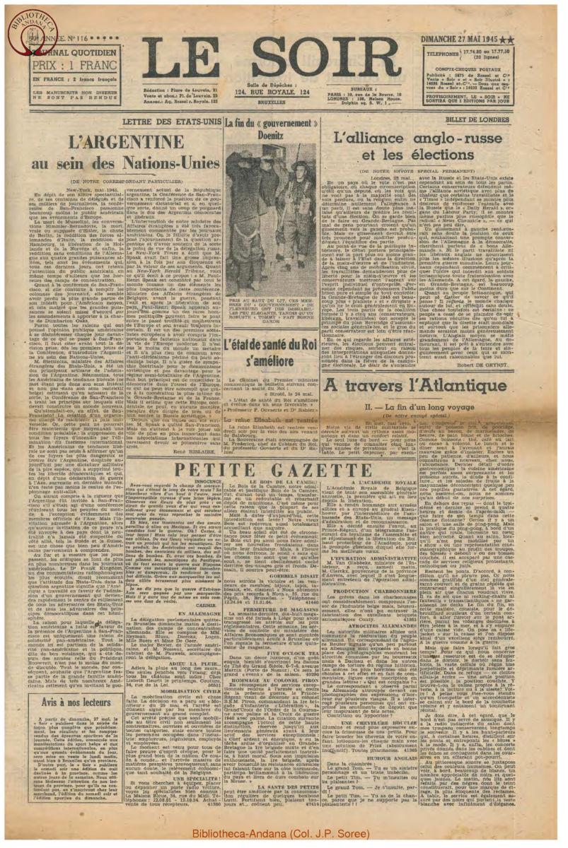 1945-05-27 Le Soir