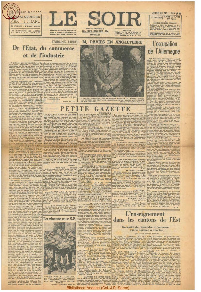 1945-05-31 Le Soir