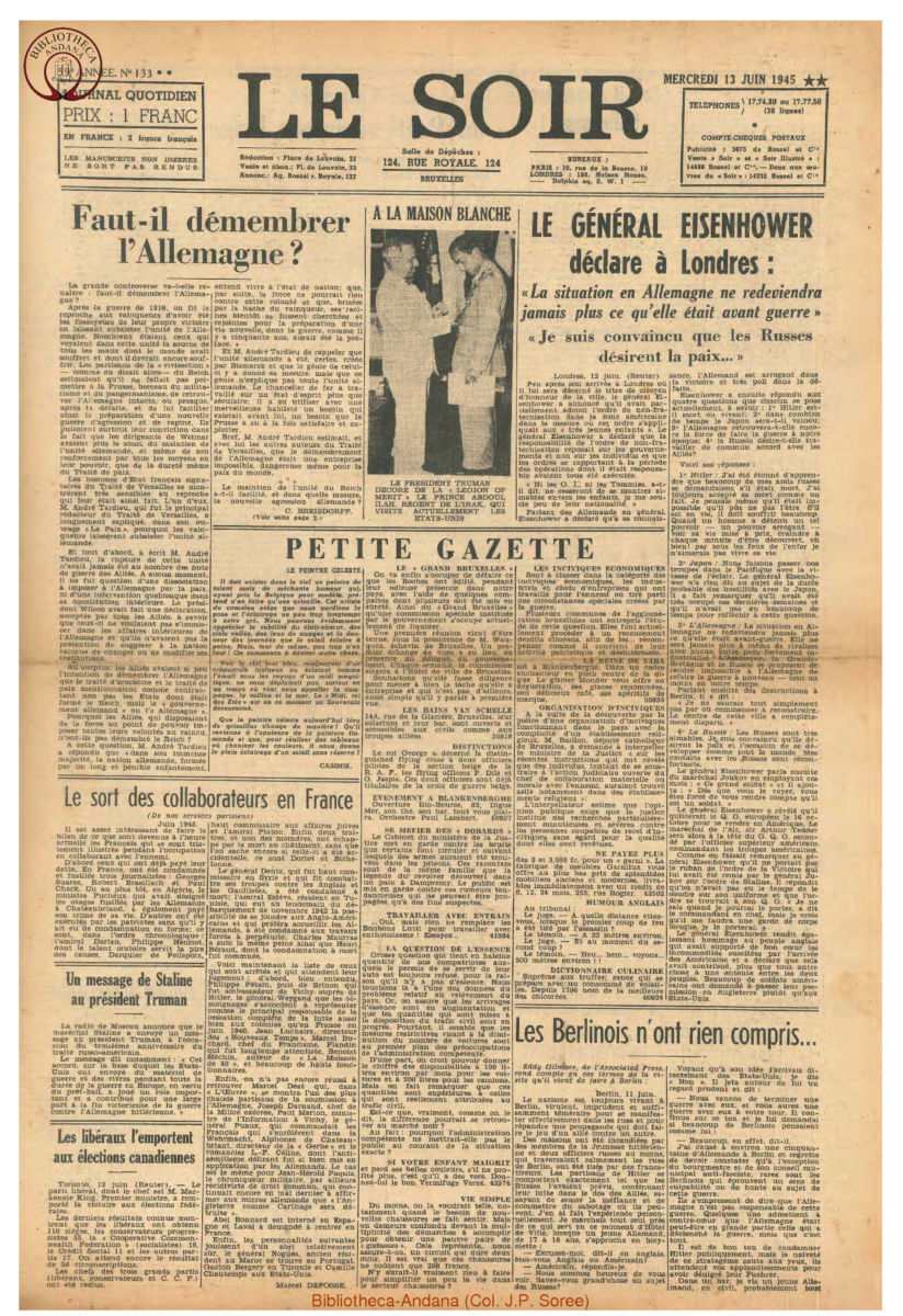 1945-06-13 Le Soir