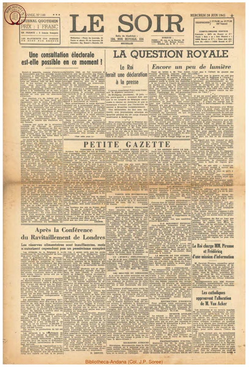 1945-06-20 Le Soir