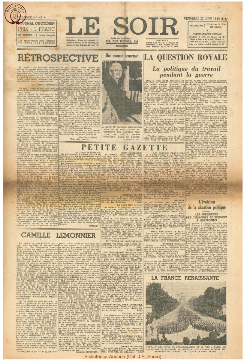 1945-06-22 Le Soir